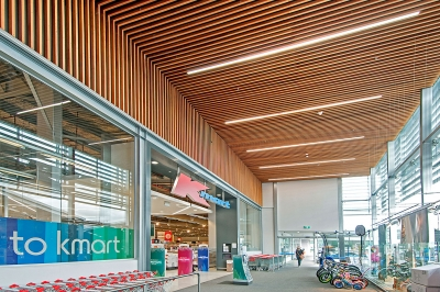Foyer cedar suspended ceiling & bulkhead
